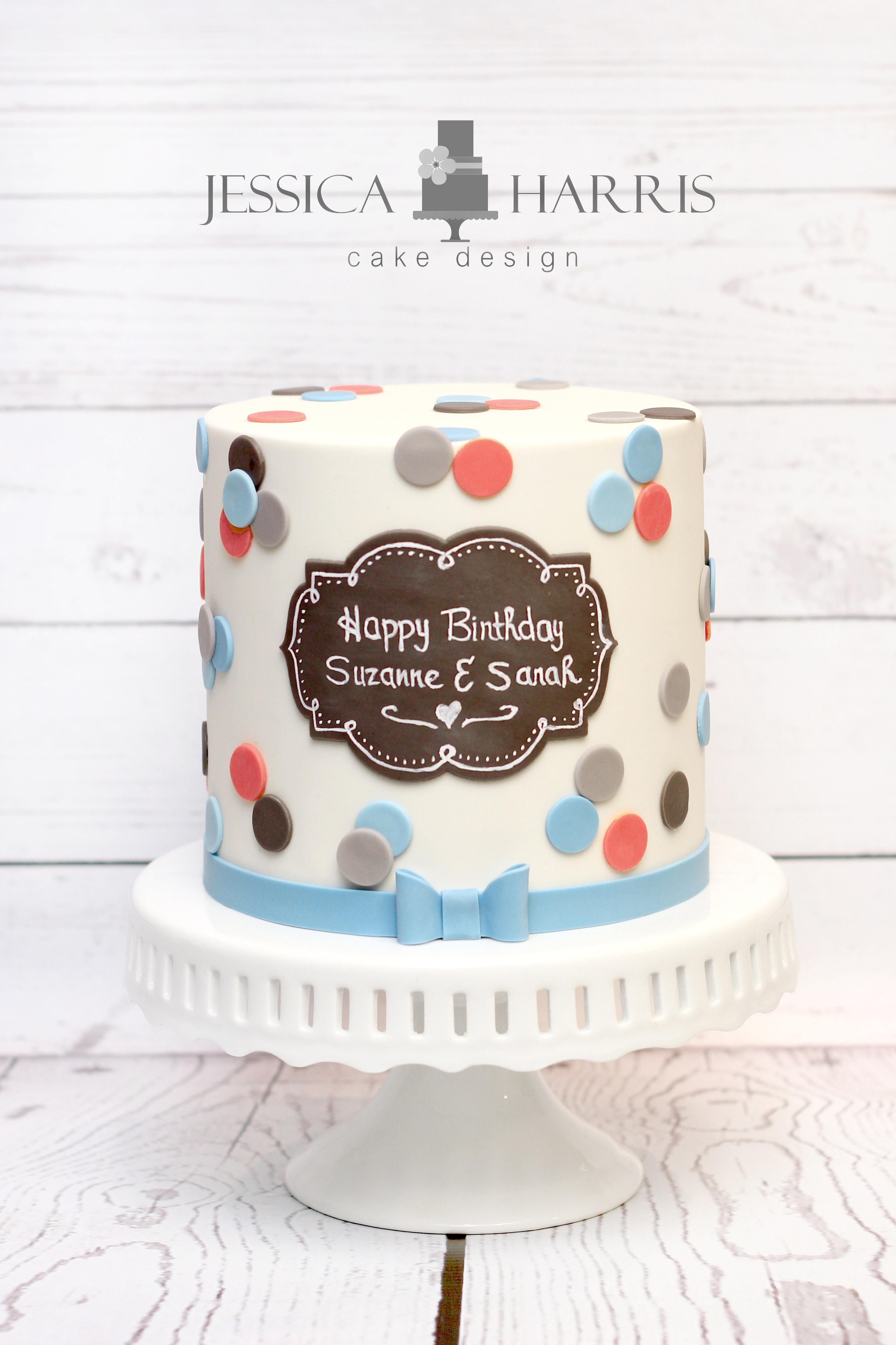 Polka Dot Chalkboard Cake