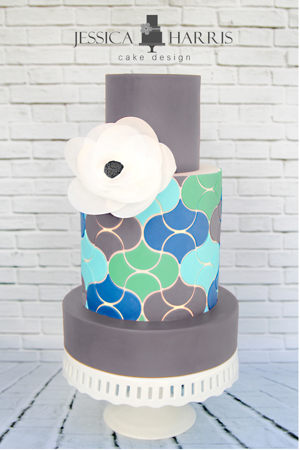Cake Designs Download : Scales Like Tiles Cake Template - 3 Designs - Jessica ...